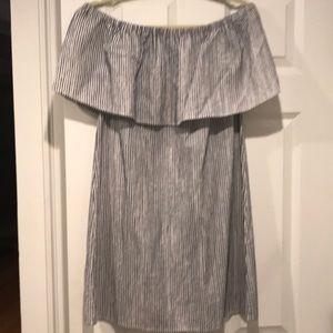 JCREW striped off the shoulder dress